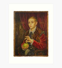Boy With Apple Art Print