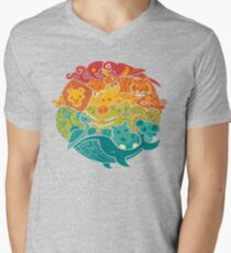 Animal Rainbow - cream Men's V-Neck T-Shirt