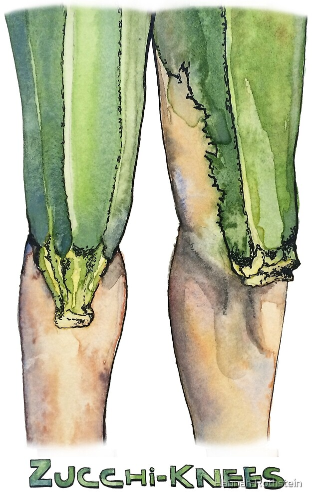 Zucchi-knees Pun Painting by Hannah Rothstein
