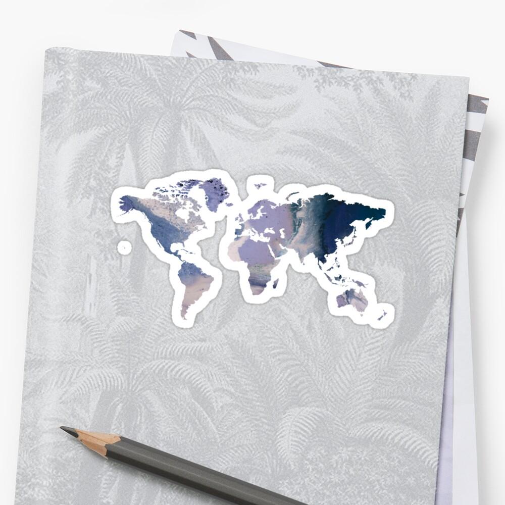 World Map - Purple Marble by Talia Faigen