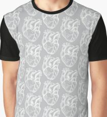 Hearts Anatomical White on Grey Graphic T-Shirt