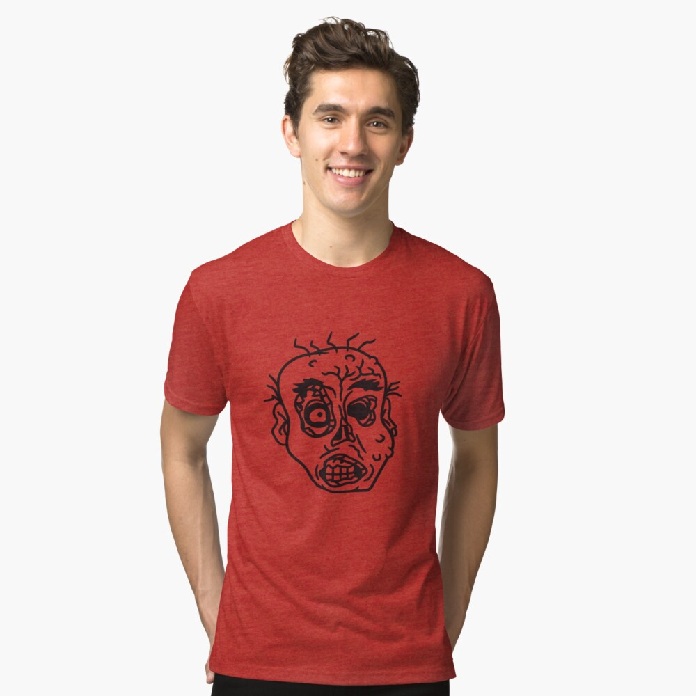 face head evil disgusting monster horror halloween zombie design Tri-blend T-Shirt Front
