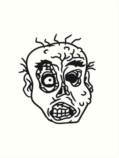 face head evil disgusting monster horror halloween zombie design by Motiv-Lady