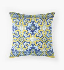 Portuguese azulejos with exploding yellow flowers Throw Pillow