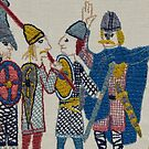 Viking huddle by Stamford Bridge Tapestry Project