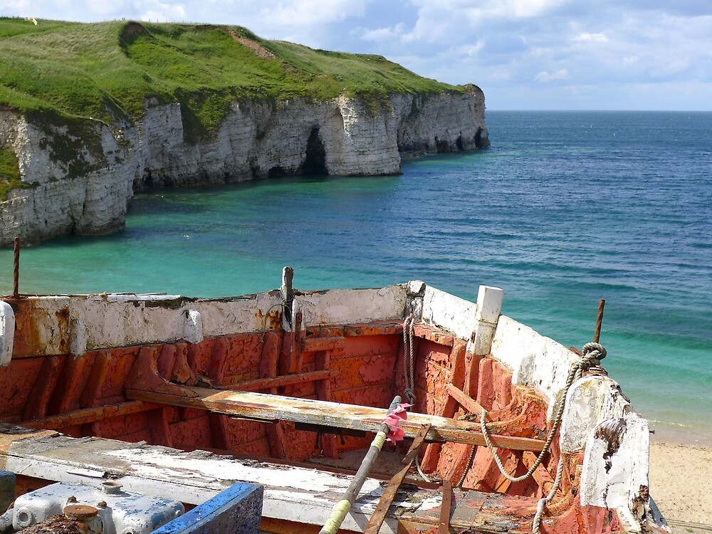 Old boat at Flamborough Head North Landing by Anna Myerscough