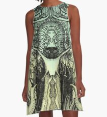Green Moths A-Line Dress