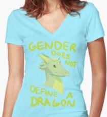 Camiseta entallada de cuello en V El género no define dragones