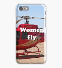 Women fly: Helicopter, red, aircraft iPhone Case/Skin