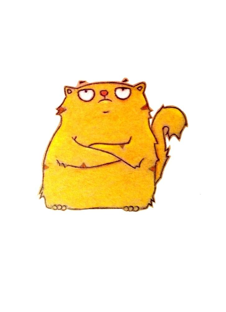grumpy chubby cat by Elizabeth Sullivan