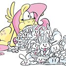 Fluttershy Barfing Bunnies by CrownePrince