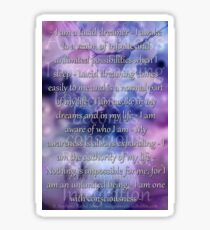 Lucid Dreaming Affirmations Sticker