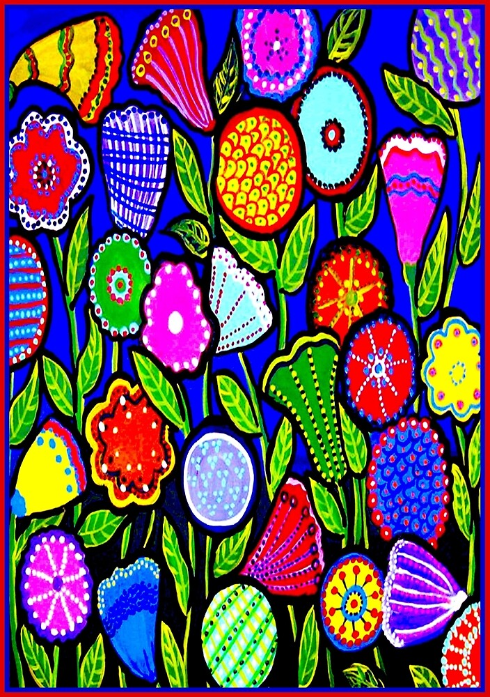 """ABSTRACT ART DECO FLOWERS"" Colorful Print by posterbobs"