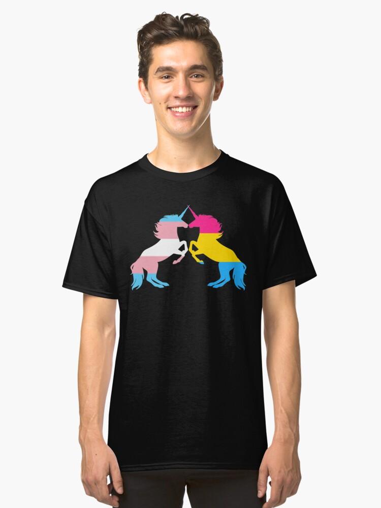 Pansexual Trans Pride Unicorns Classic T-Shirt Front