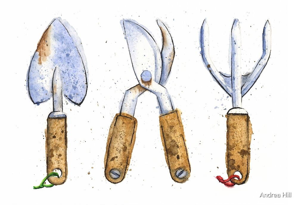 Watercolor Painting of Various Gardening Tools by Andrea Hill