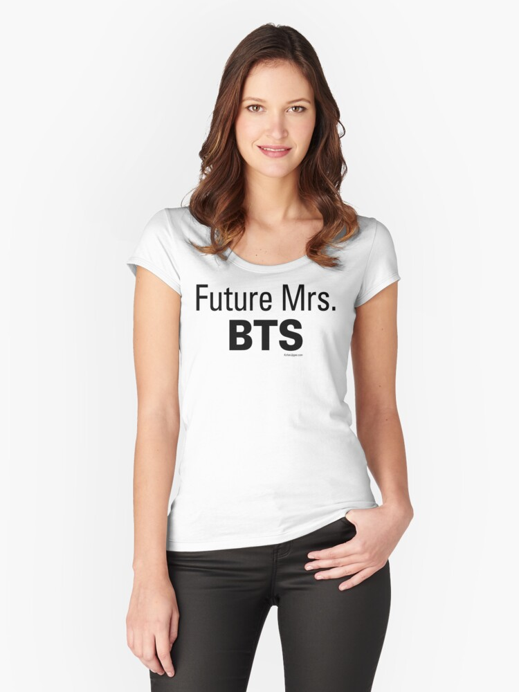 Future Mrs. BTS T-shirts, Black Lettering Women's Fitted Scoop T-Shirt Front
