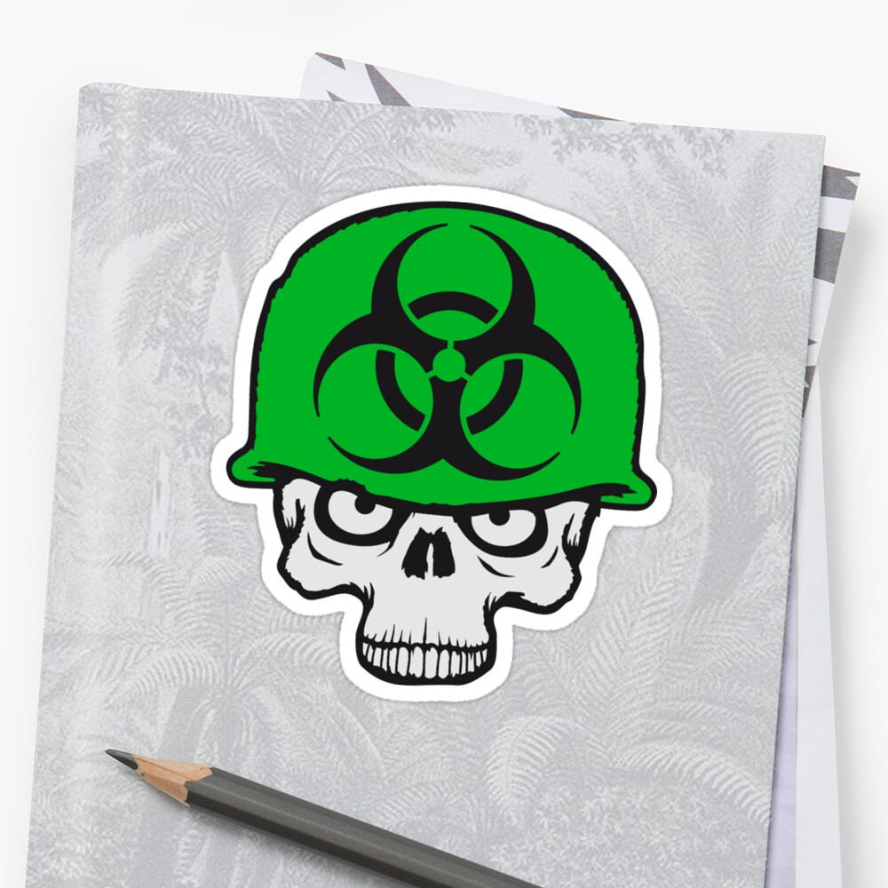 army helmet war zombie skeleton evil soldier fighter weapon biohazard symbol sign by Motiv-Lady