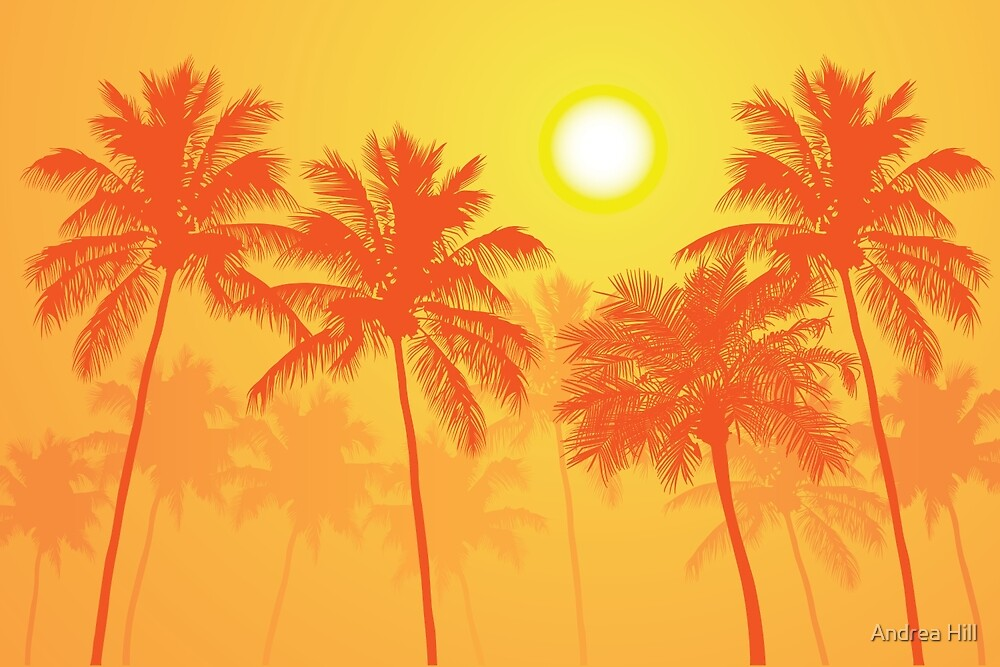 Palm Trees on a Hot Summer Day by Andrea Hill