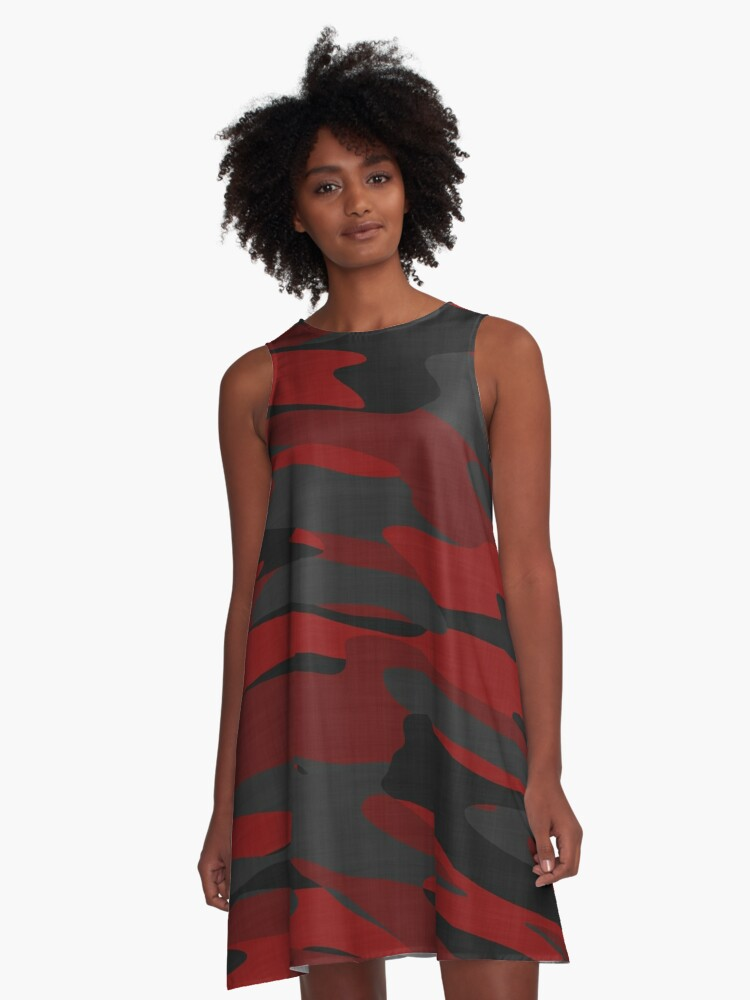 red black and gray camo A-Line Dress Front