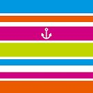 Anchor Brilliant Colorful Stripes Vivid Nautical Summer Fun by Beverly Claire Kaiya