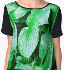 large green leaves closeup Women's Chiffon Top