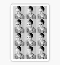 Emma Watson Tiled Black and White Design  Sticker