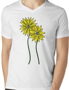 Two Daisies Coloured Yellow with Transparent Background Mens V-Neck T-Shirt