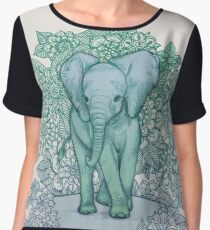 Emerald Elephant in the Lilac Evening Women's Chiffon Top