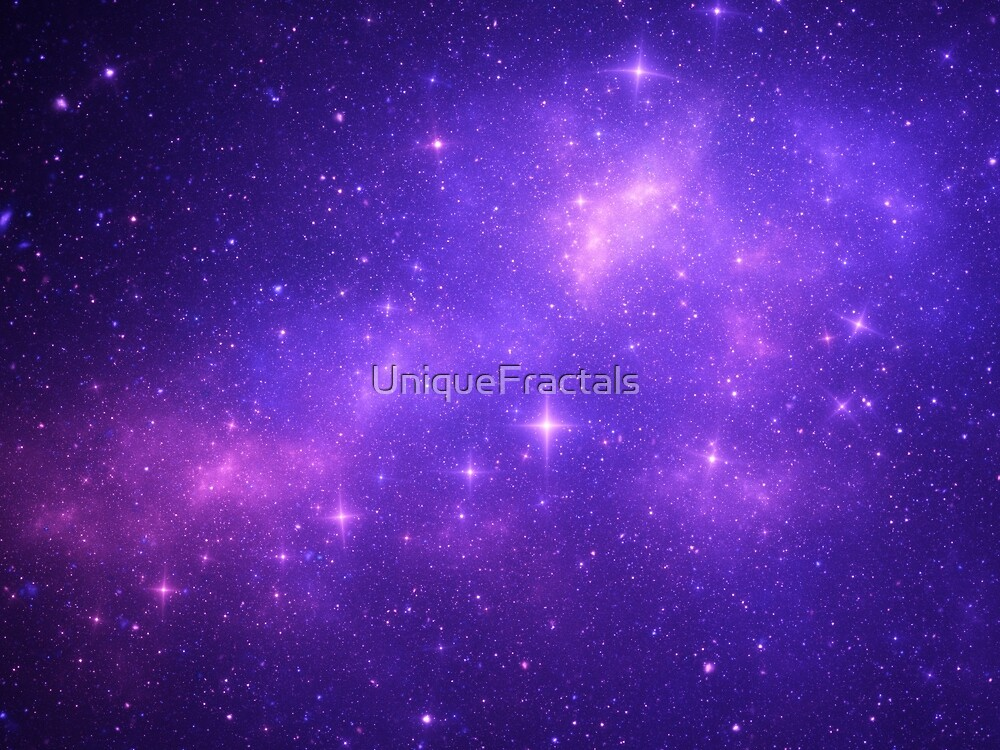 Beautiful Purple Galaxy and Stars by UniqueFractals