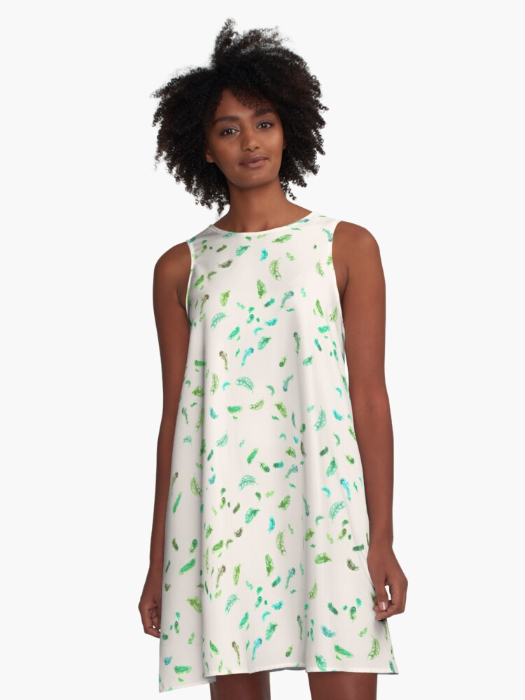 Swirling Feathers in Aqua and Green A-Line Dress Front