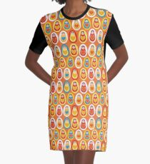 Russian dolls matryoshka orange blue red yellow Graphic T-Shirt Dress