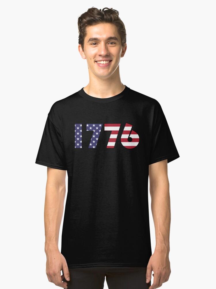 """1776"" America Flag T-Shirt Classic T-Shirt Front"