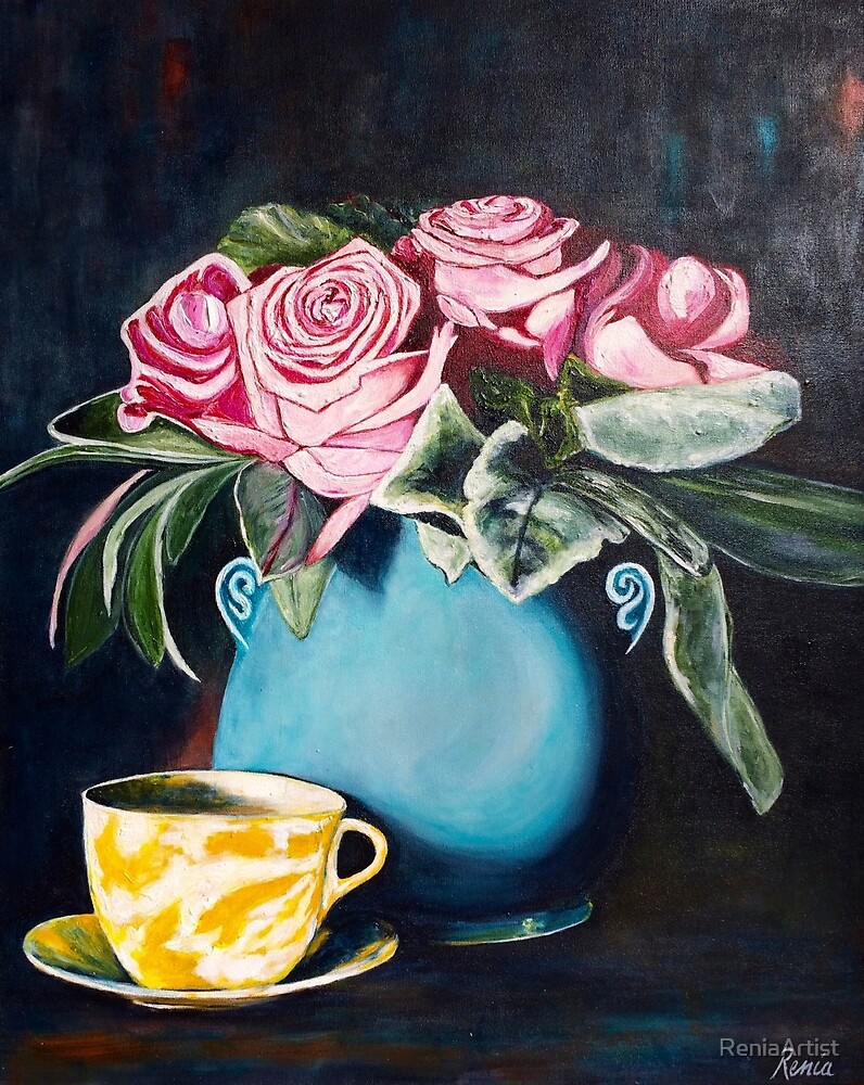 Old Roses and Yellow Teacup by ReniaArtist