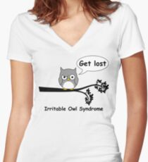 Irritable Owl syndrome Women's Fitted V-Neck T-Shirt