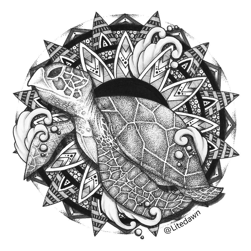 Turtle Mandala Sticker by litedawn
