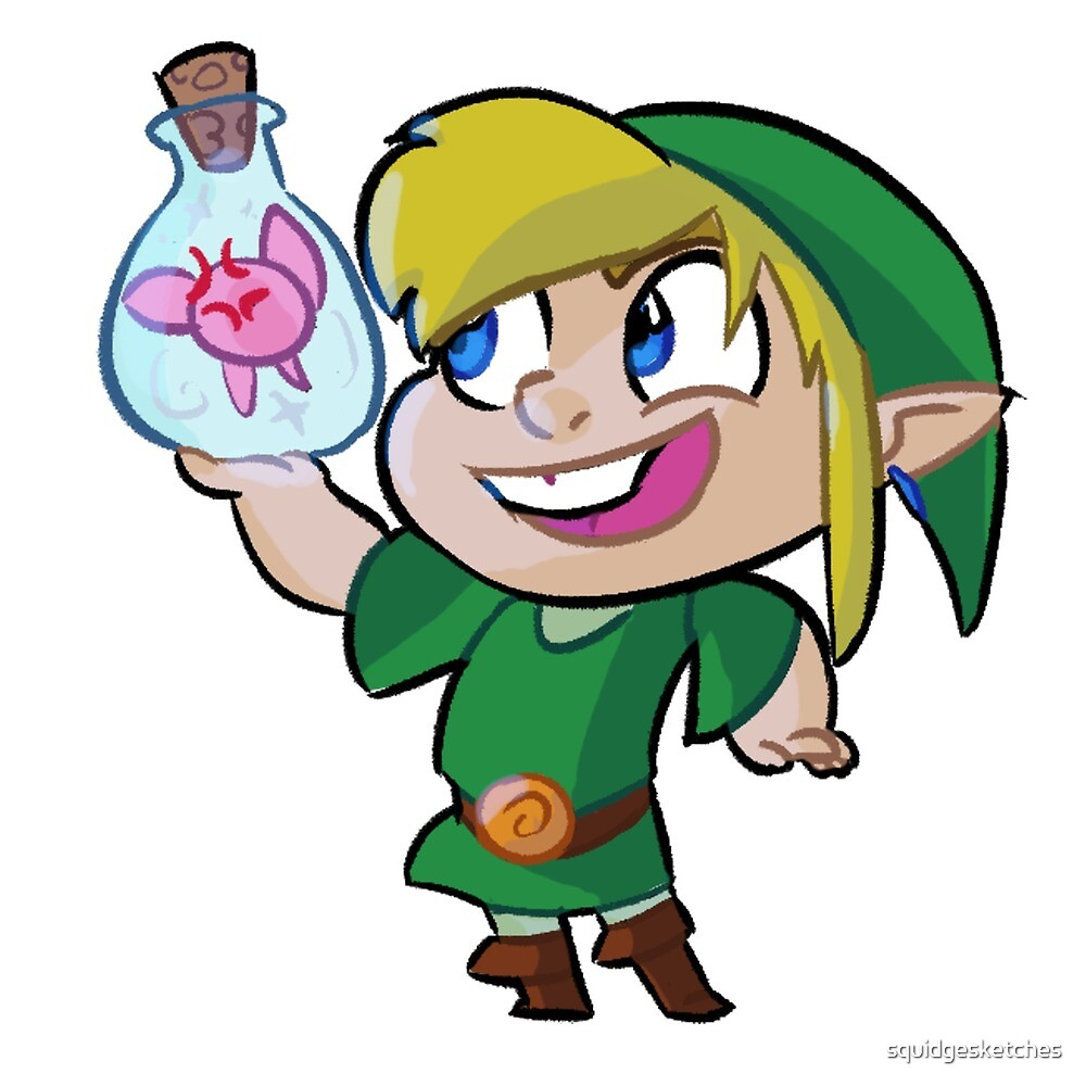 Chibi Link Fairy Bottle by squidgesketches