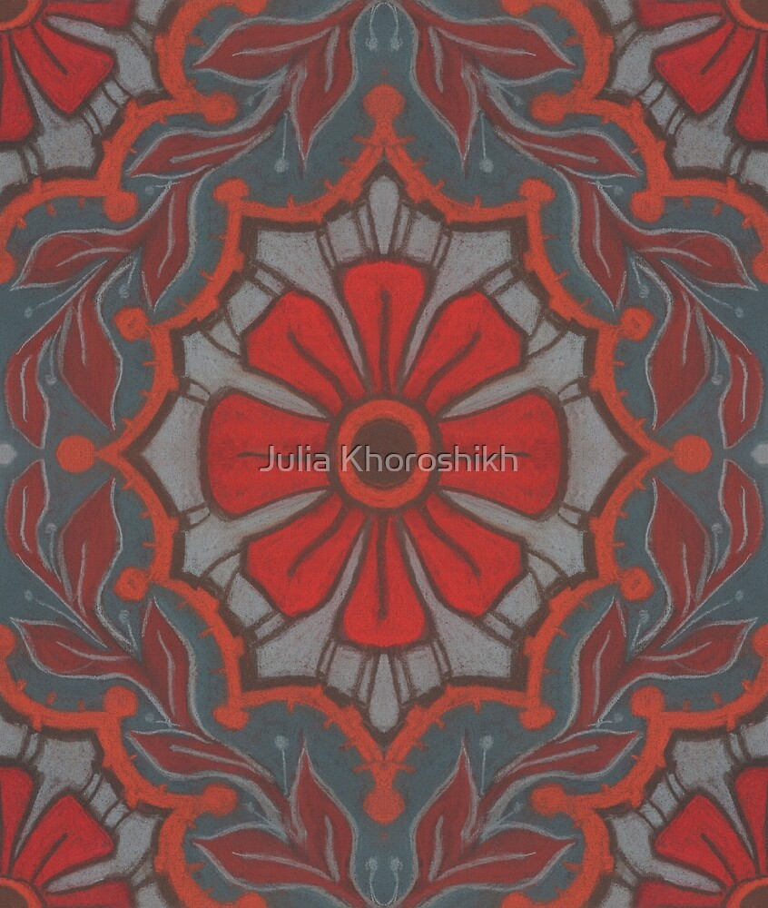 Scarlet flower, floral arabesque pattern by clipsocallipso