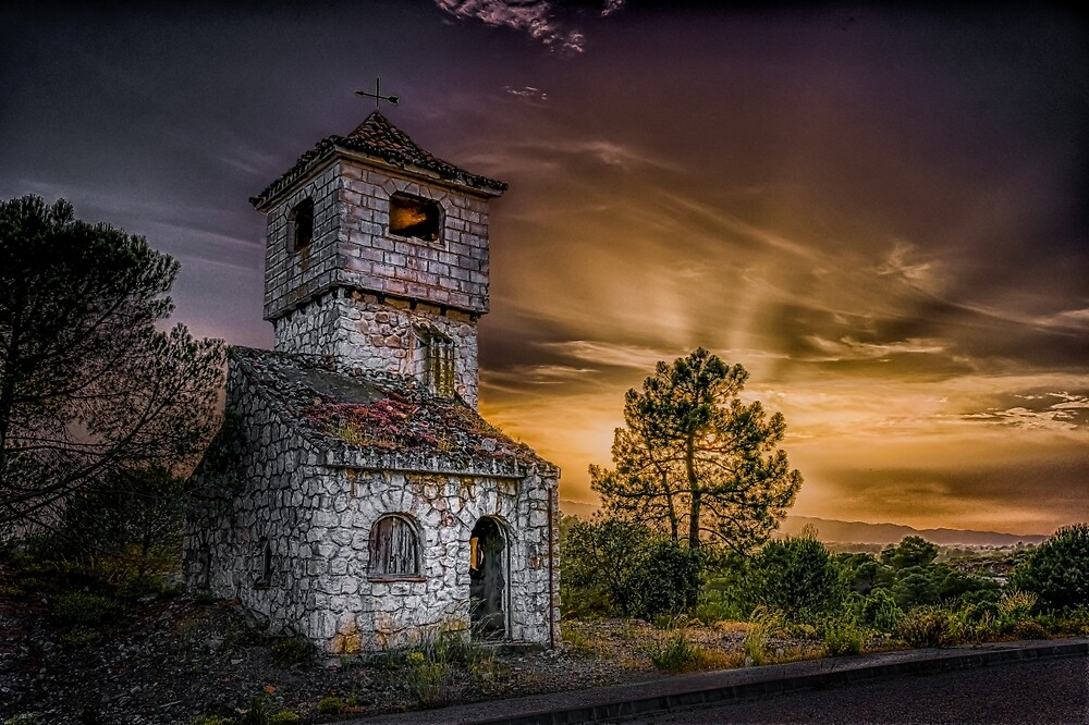 A haunted house at night in the Andalusian countryside by peter hayward