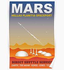 Mars Spaceport Sci-Fi Travel Illustration Poster
