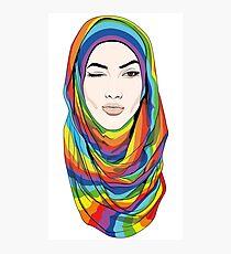 Rainbow hijab Photographic Print