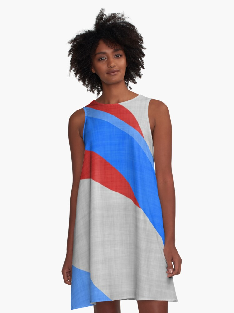 red white blue  abstract 2 A-Line Dress Front