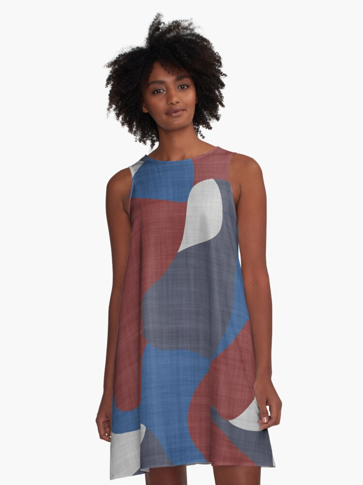 dark red white and blue abstract A-Line Dress Front
