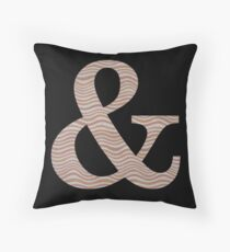 Letter & Ampersand Metallic Look Stripes Silver Gold Copper Throw Pillow