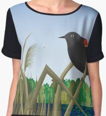 Red Wing Black Bird Perched on Reed in Wetland Marsh  Women's Chiffon Top