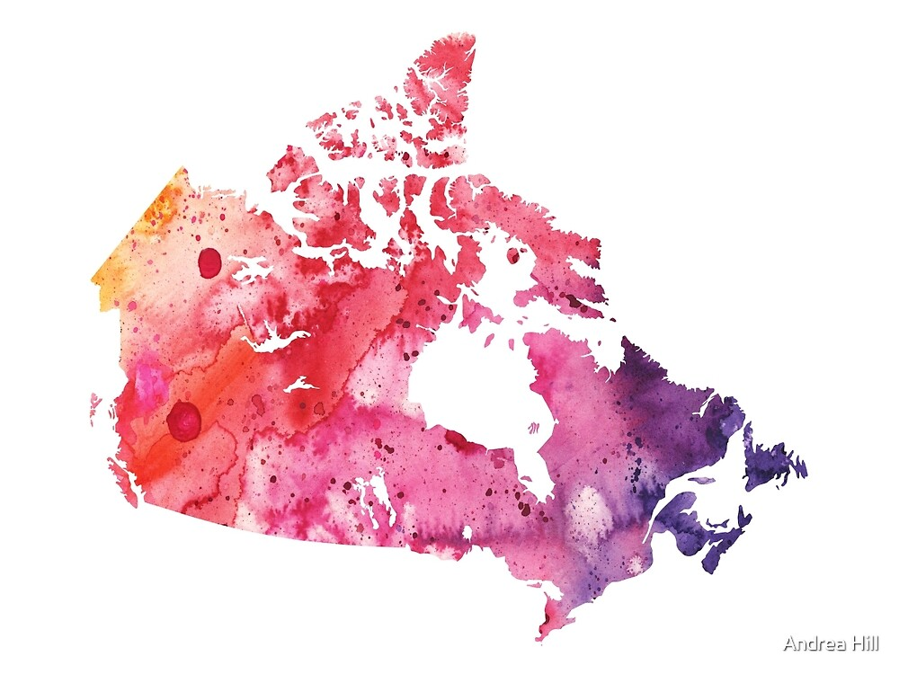 Map of Canada with A Watercolor Texture in Red, Pink, and Purple by Andrea Hill