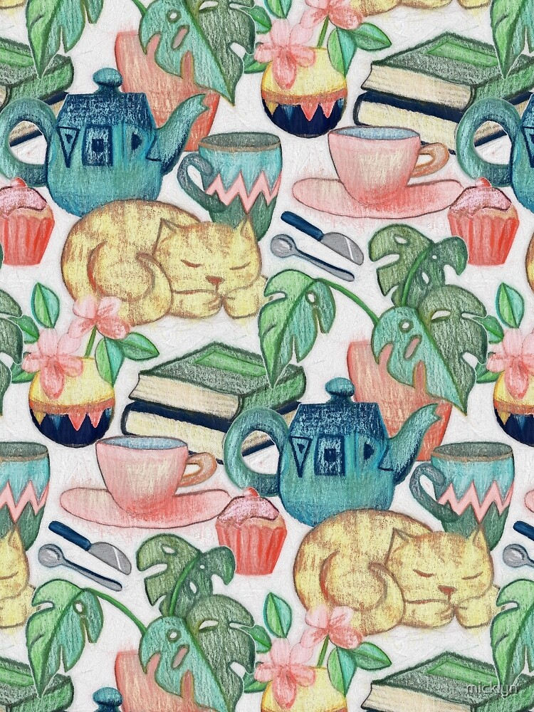 Lazy Afternoon - a chalk pastel illustration pattern by micklyn