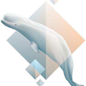 Beluga whale geometric design symbol by dystopia