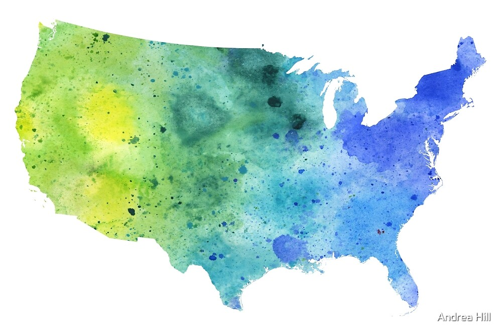 Map of the United States with Watercolor Texture in Blue and Green by Andrea Hill