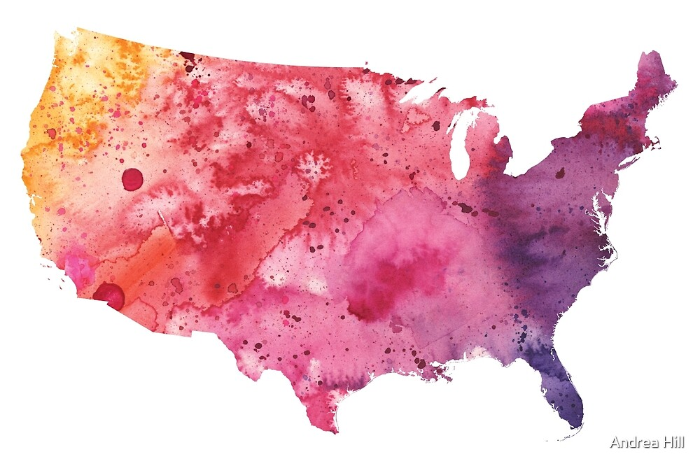 Map of the United States with Watercolor Texture in Red, Pink, and Purple by Andrea Hill