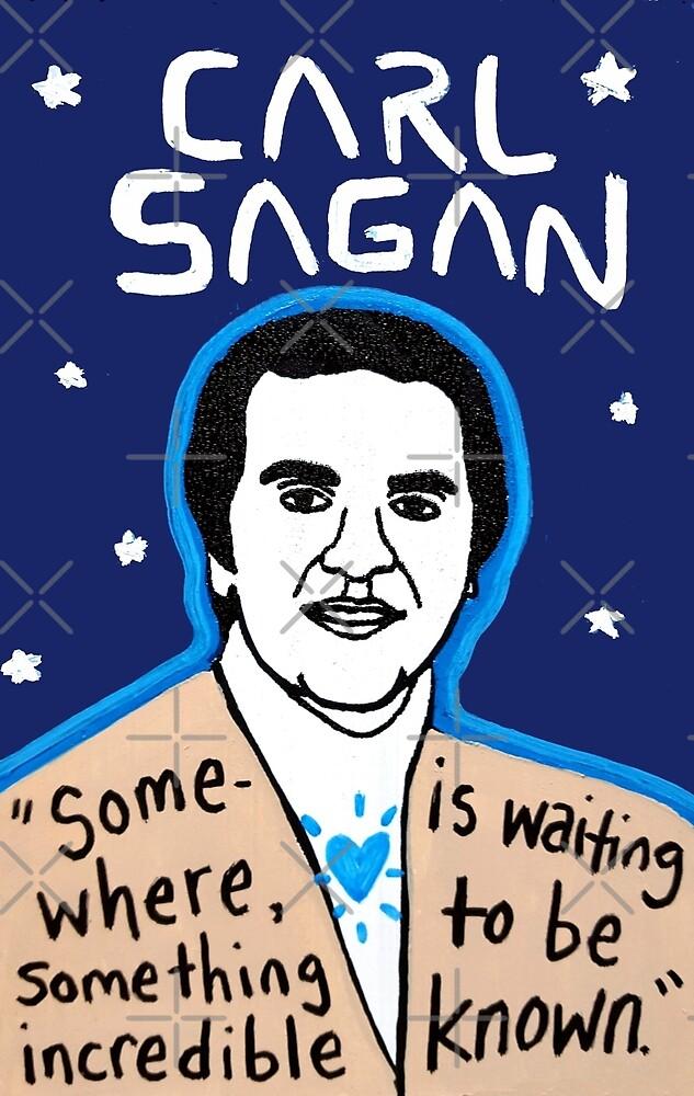 Carl Sagan pop folk art by krusefolkart